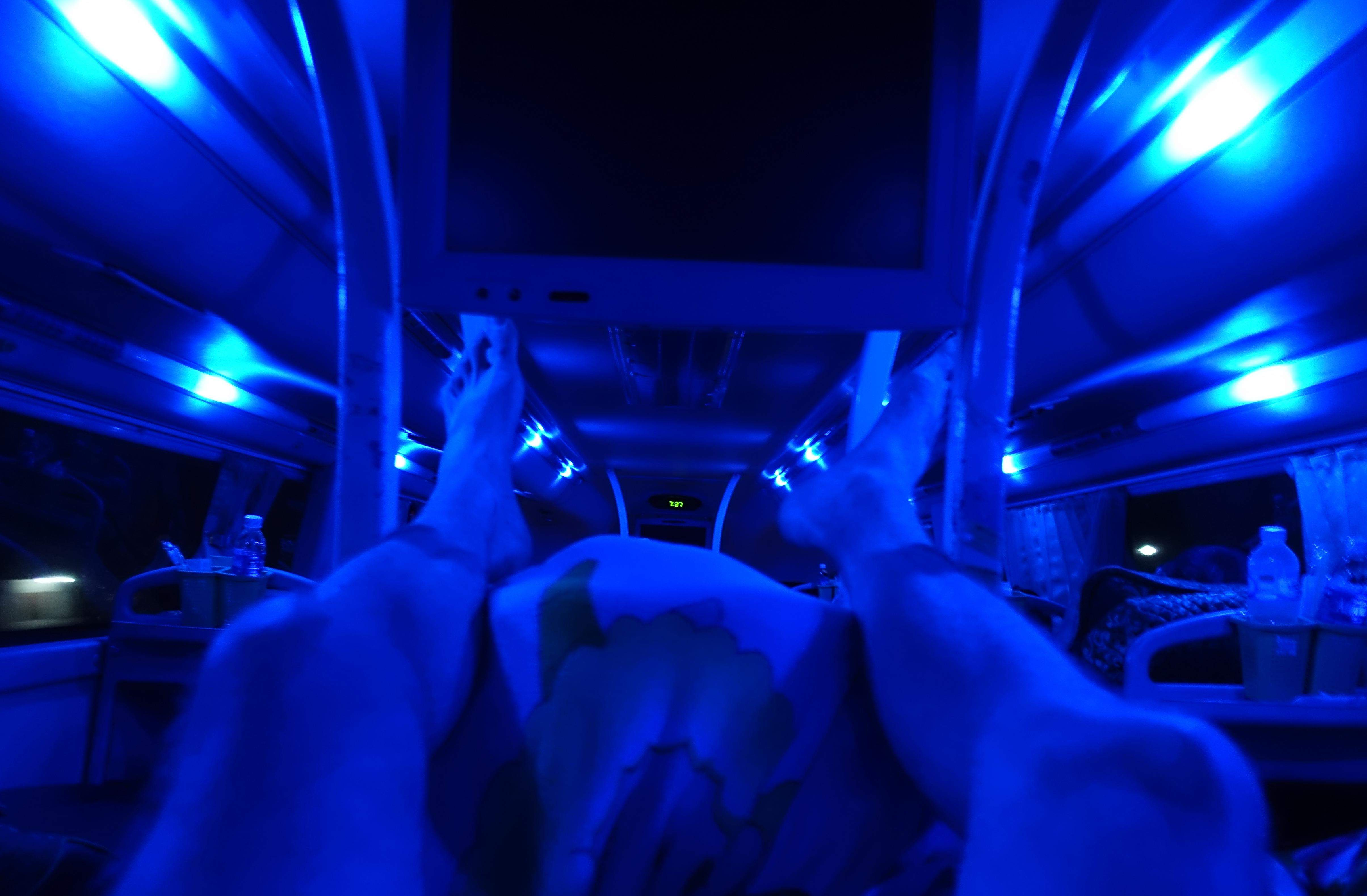 Limited legroom on the bus!